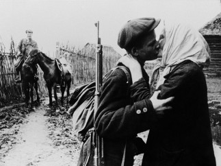 Kolkhoz farmer M. Nikolaïeva bids her son Ivan goodbye before he joins the partisans 1942