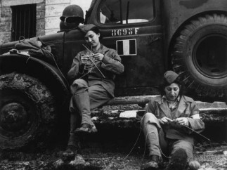 Drivers from the French ambulance corps near the front, waiting to be called Italy, 1944