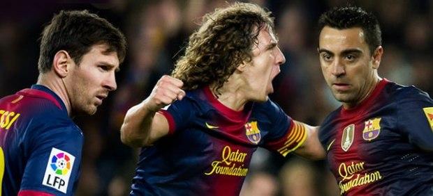 Messi, Puyol y Xavi