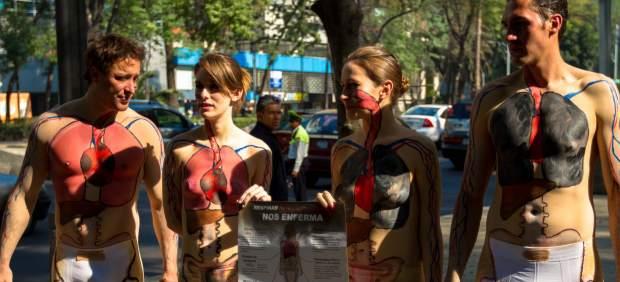 Protesta contra la contaminación atmosférica.
