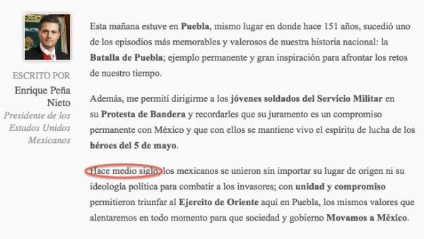 Error de Peña Nieto en su blog
