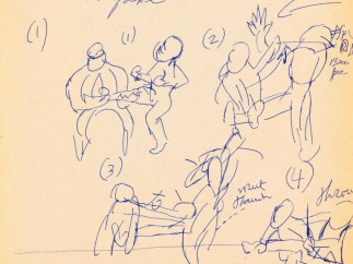 Bruce Lee's conceptual drawings for the fight scenes in the film Enter the Dragon made  1972 - 1973