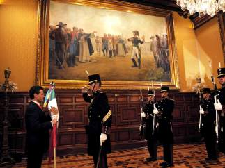 Enrique Peña Nieto durante su primer Grito