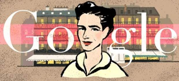 Doodle en homenaje a SImone de Beauvoir