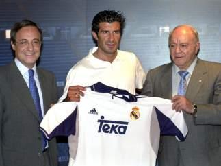 Con Luis Figo y Florentino Pérez