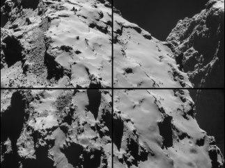 Vista de la zona de aterrizaje de Rosetta en el cometa