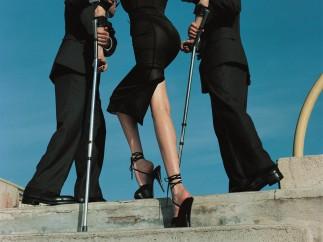 High & Mighty shoot, American Vogue, model: Nadja Auermann - Dolce & Gabbana suit, Summer 1995,  February 1995